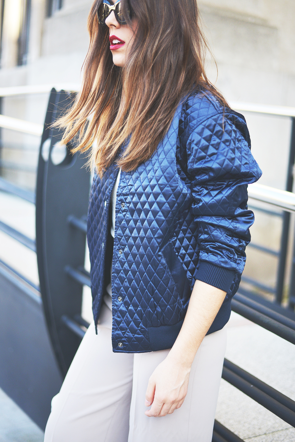 Blue satin bomber