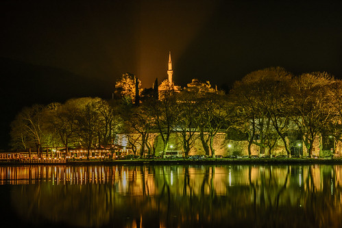 city longexposure trees lake reflection water night landscape lights nikon long nightshot minaret mosque greece reflect nocturne ioannina lakescape epirus