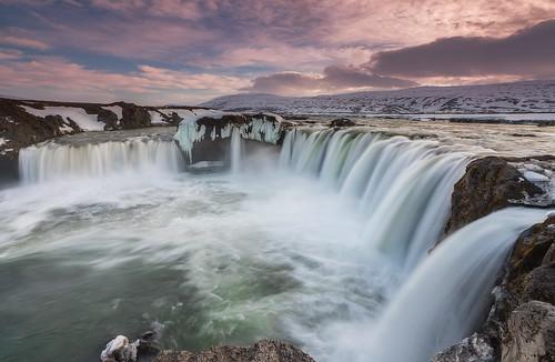 longexposure sunset snow ice water landscape waterfall iceland glacial godafoss neiceland skjálfandafljót