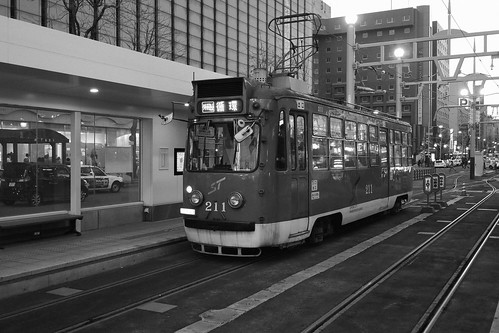 Tramcars at Sapporo on APR 02, 2016 (1)