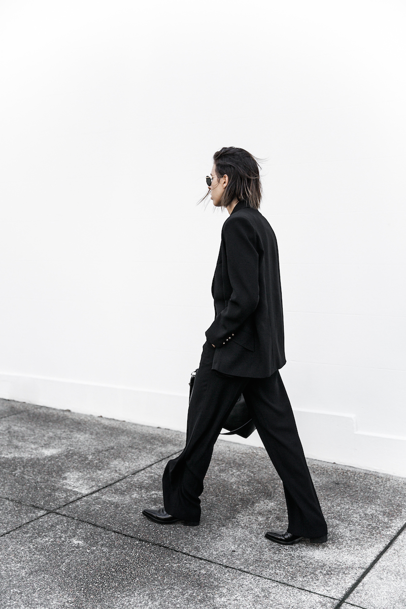 all black workwear inspo street style Karen Millen fashion blogger modern legacy man style sheer cut out shirt  (14 of 15)
