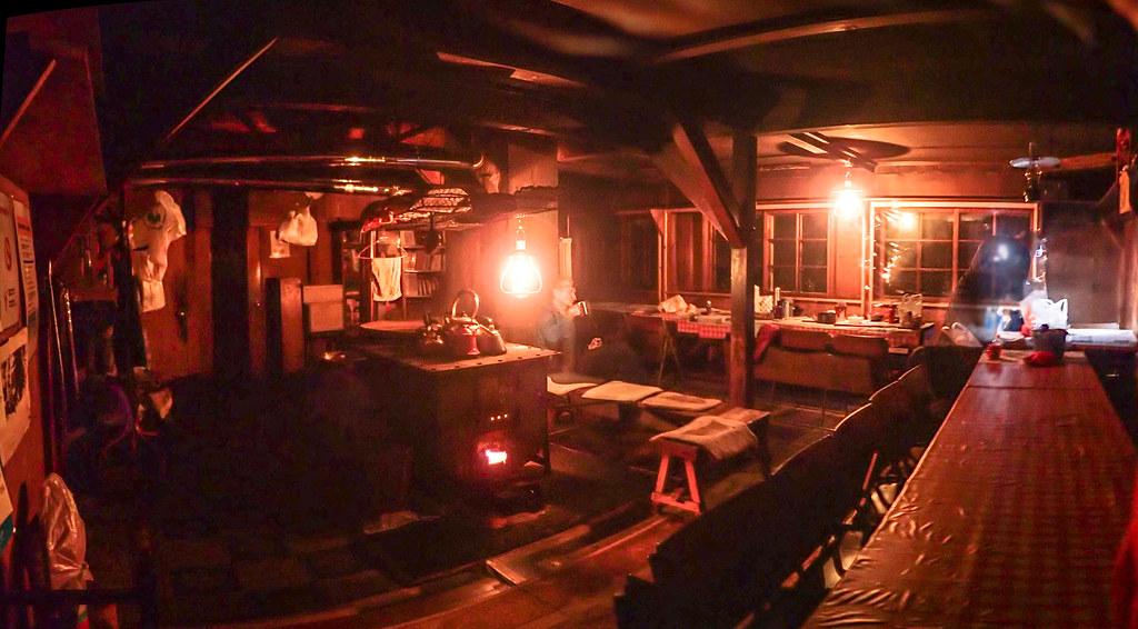 Interior of Ginreiso Hut on Mt. Haruka (Hokkaido, Japan)