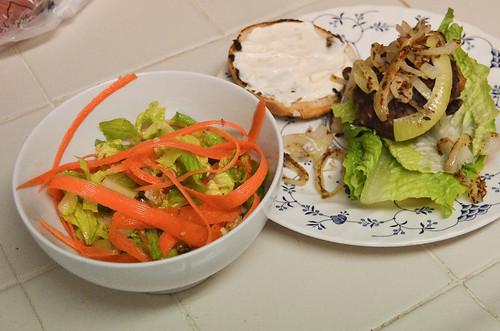 Juicy Lucy Burgers with Frizzled Onion & Romaine-Walnut Salad