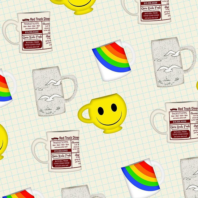 "Once again, an unfinished pattern for #patternjanuary : mugs. I immediately thought of my McCoy smiley face mug. It was slow at work today so I started ""rendering"" some of my favorite mugs in Photoshop. Digital illustration is SO not my thing, but I'm pre"