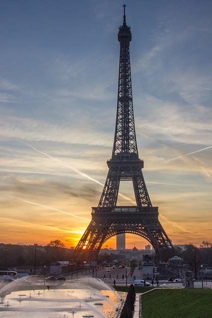 Sunrise behind the Eiffel Tower