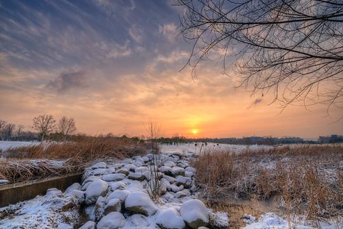 park winter wild sky cloud snow cold tree stone sunrise square dawn hdr