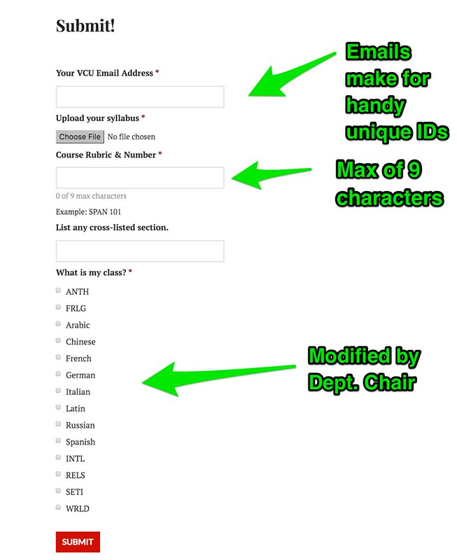 tutorial - syllabus submission form annotated