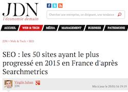 SEO : les 50 sites ayant le plus progressé en 2015 en France d'après Searchmetrics