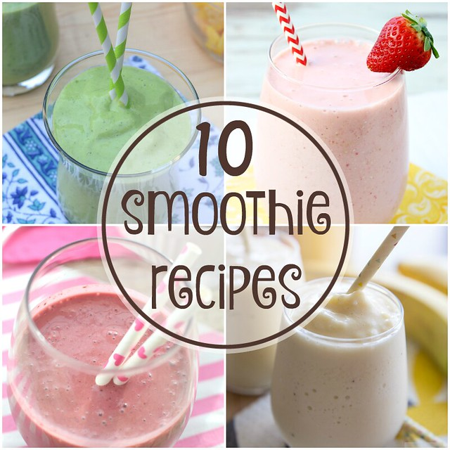 10 Smoothie Recipes collage.