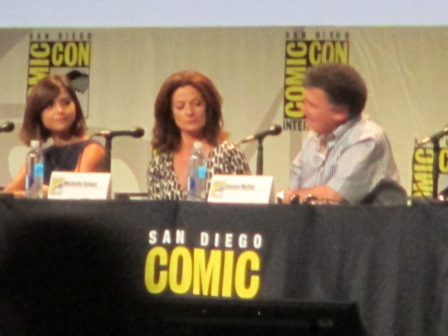 Jenna Coleman, Michelle Gomez, and exec producer and lead writer Steven Moffat by Peter Lee