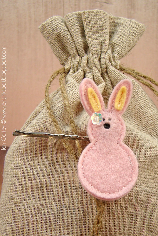 Jen Carter Felt Bunny Hair Barrettes Pink Bobby Pin