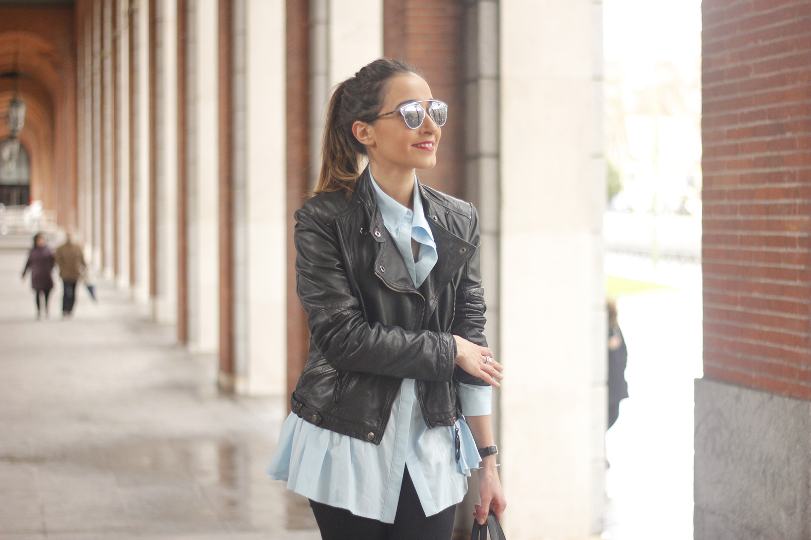 black leather biker black ripped jeans blue shirt outfit streetstyle01