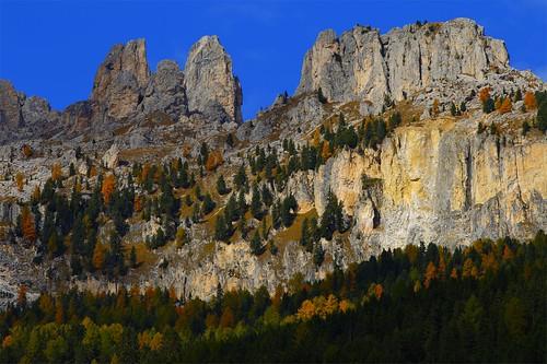 autumn mountain fallcolors foliage ridge larches dolomites vigodifassa trentinoaltoadige ladinpeople