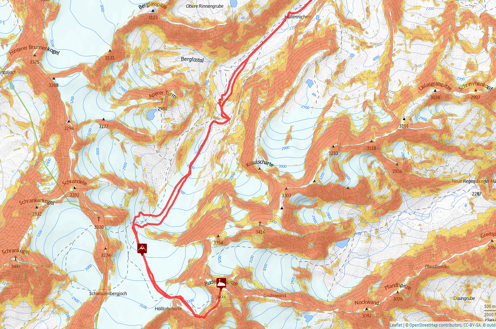 Ruderhofspitze NW (Franz Senn Hütte) Stubaiské Alpy Rakousko foto 03