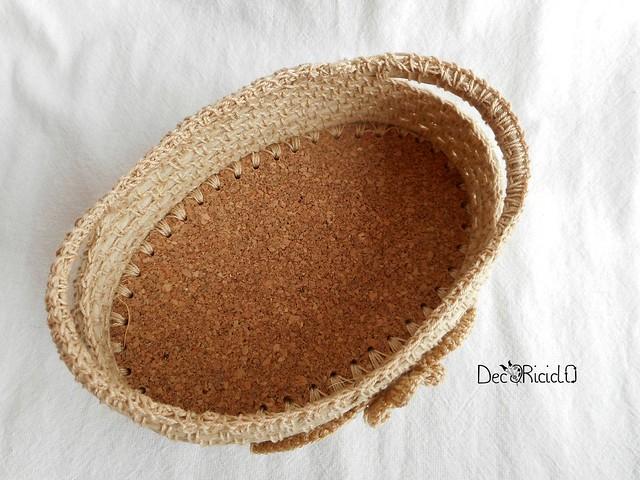 cestino di spago e cotone con base in sughero 2