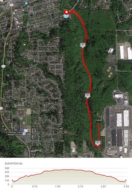 Today's awesome walk, 3.58 miles in 1:12, 7,707 steps, 395ft gain