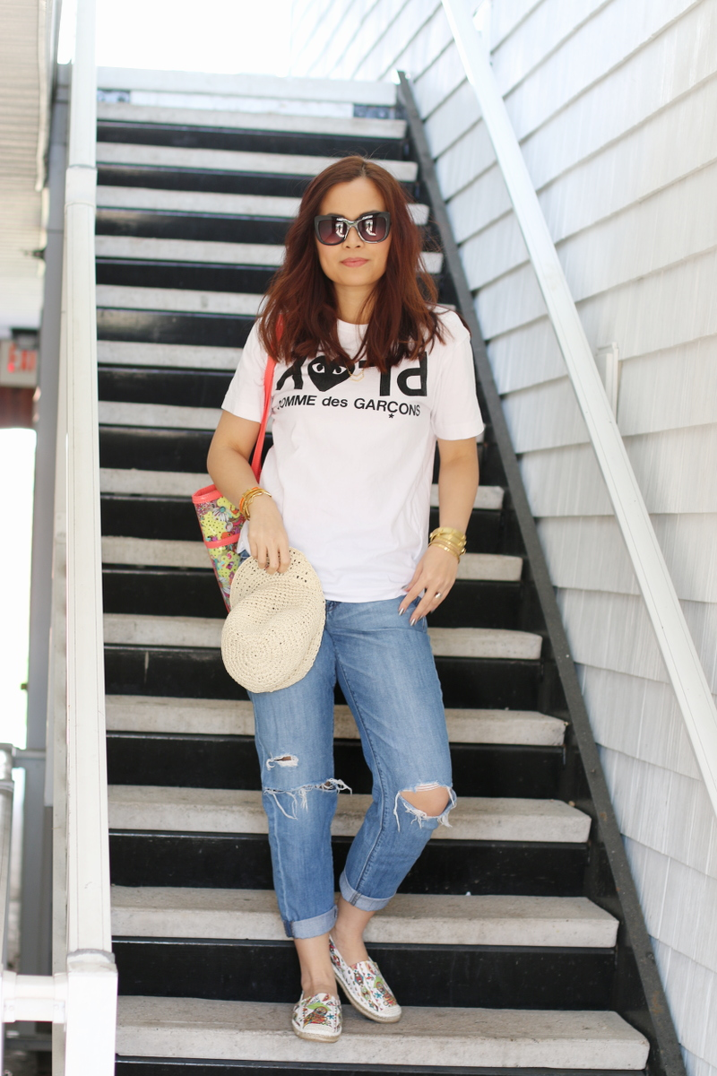 sakroots artist circle XLG tote, comme des garçons t-shirt, white shirt, boyfriend jeans