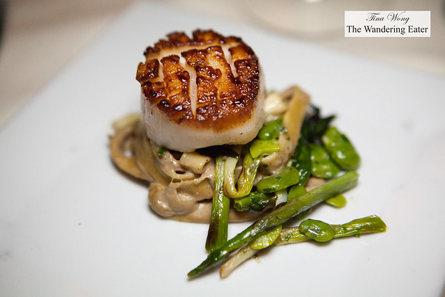 Seared diver scallops, housemade tagliatelle, grilled ramps, chanterelle creme