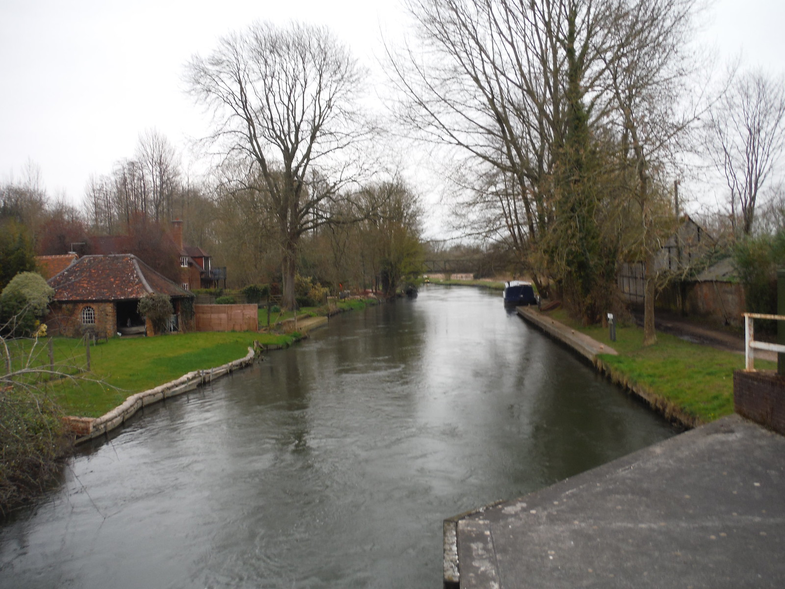 The River Kennet Navigation, from bridge by The Rowbarge Inn SWC Walk 260 Aldermaston to Woolhampton [Midgham Station] (via Frilsham)