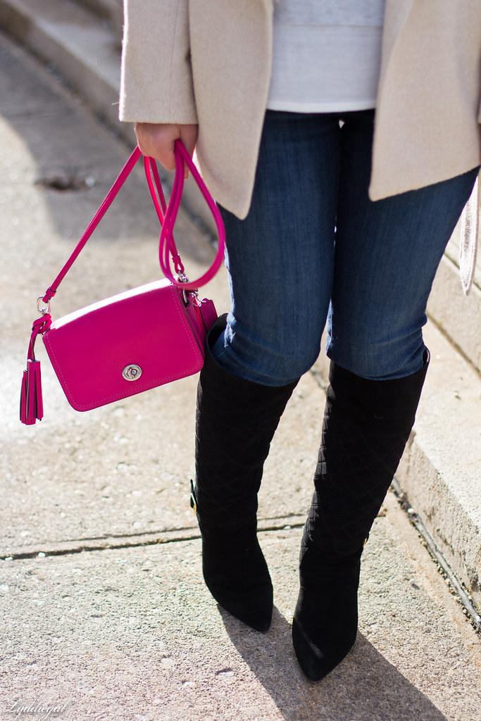 grey sweater, cream fur collar coat, black boots, pink bag-7.jpg