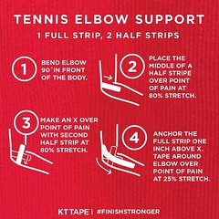 Serve, swing or volley to your fullest potential. #FinishStronger #TennisElbow #TransformationTuesday #Fitness #Fitspo #kttape
