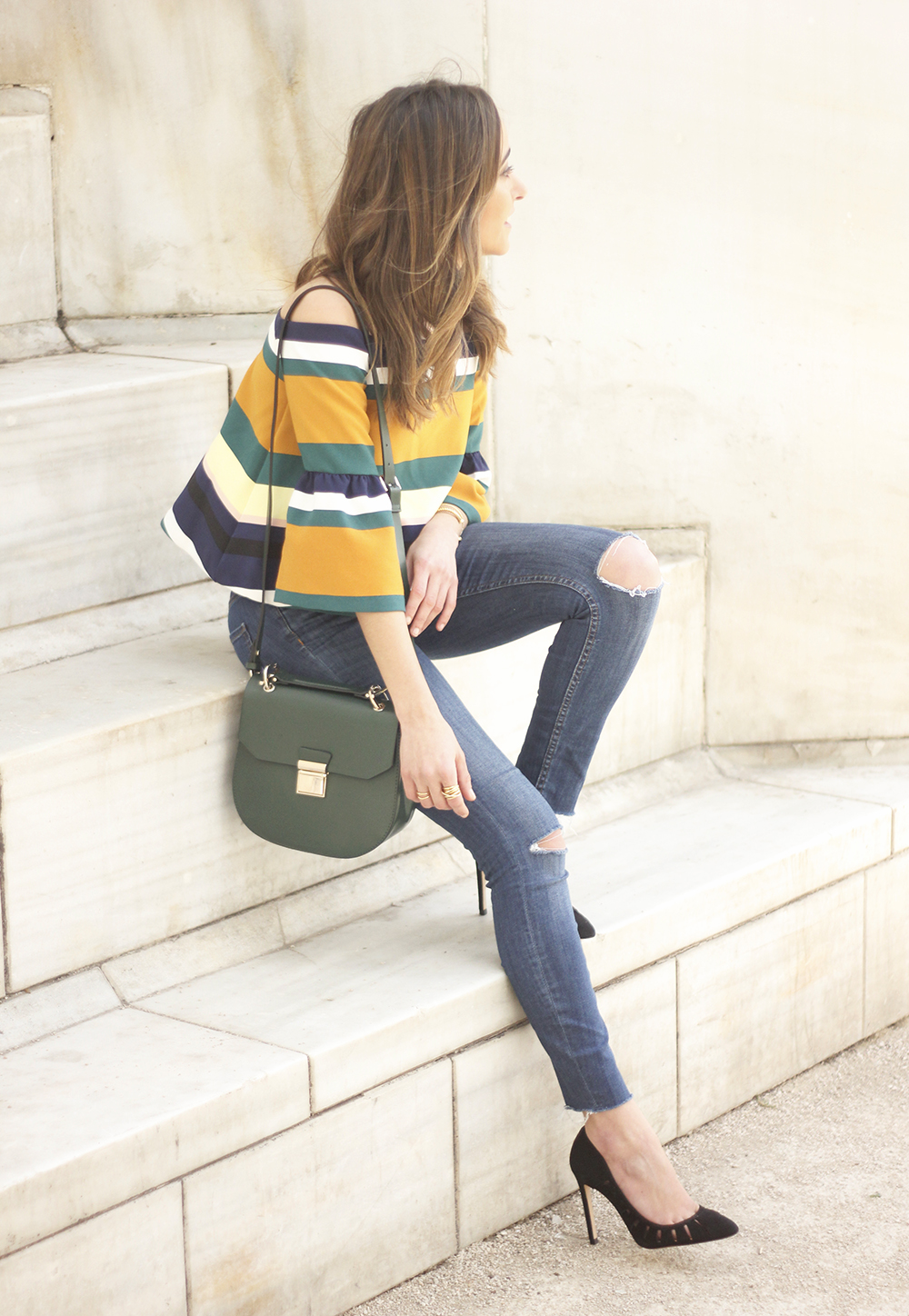 Off The Shoulder Top with stripes jeans heels accessories bag aristocrazy15
