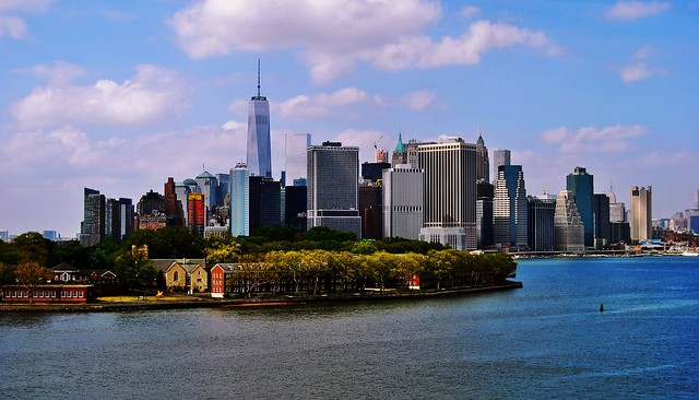 Lower Manhattan with Governors Island in the foreground