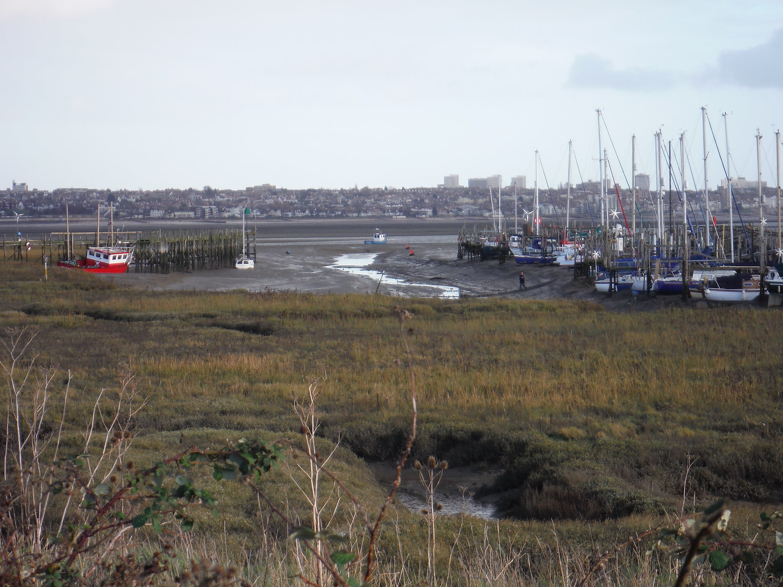 Smallgains Marina and Southend-on-Sea, from Canvey Island SWC Walk 258 Benfleet Circular (via Canvey Island)