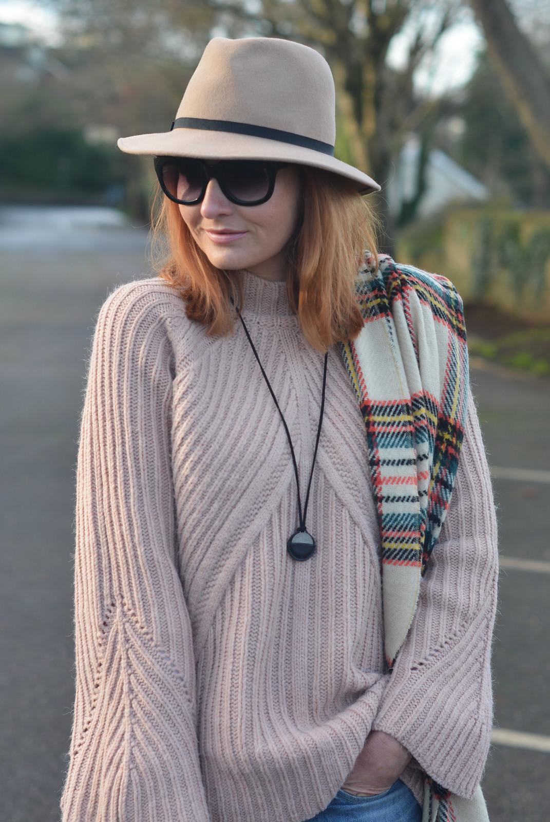 Blush Knitwear, Felt Fedora, Tartan Scarf, Long Coin Pendant