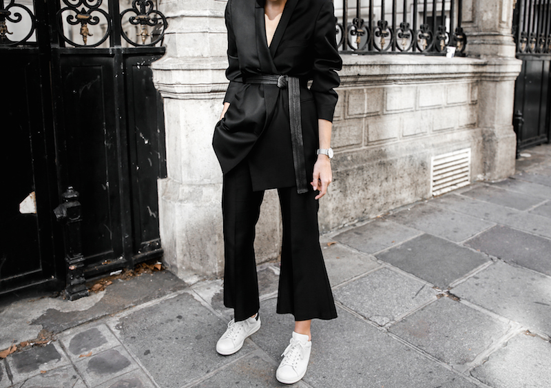 all black Paris fashion week street style Isabel Marant sneakers cropped kick flare Stella McCartney blazer Bassike belt modern legacy (5 of 8)
