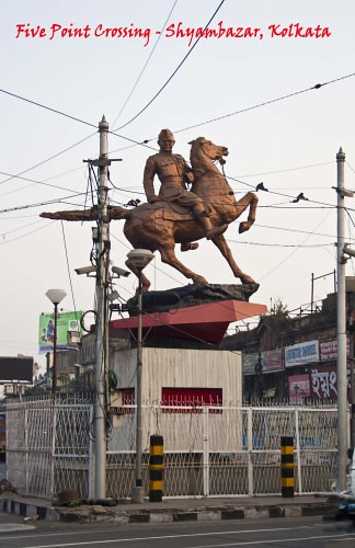 Statue of Subhas Chandra Bose at Five Point Crossing, Shyambazar, Kolkata, India