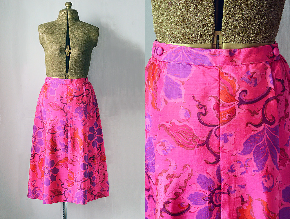Vintage Pink Silk Pencil Skirt