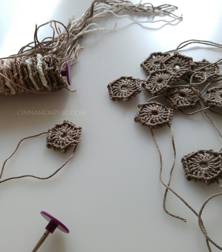 a lot of mini hexagon crochet thingies