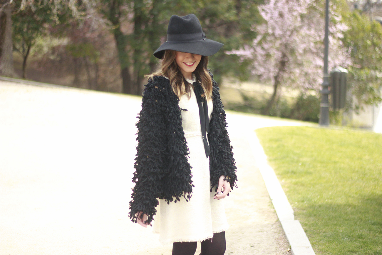 White tweed dress with bow black jacket hat outfit10