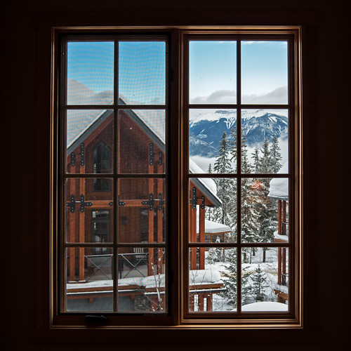 canada mountains window golden bc view britishcolumbia skiresort chalet rockymountains canadianrockies skichalet khmr kickinghorsemountainresort pentaxart 01standardprime pentaxq7