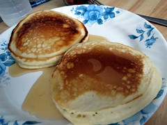 Maple Syrup Covered Pancakes.