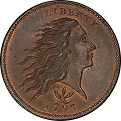 1793 Flowing Hair Cent. Sheldon-9 obverse