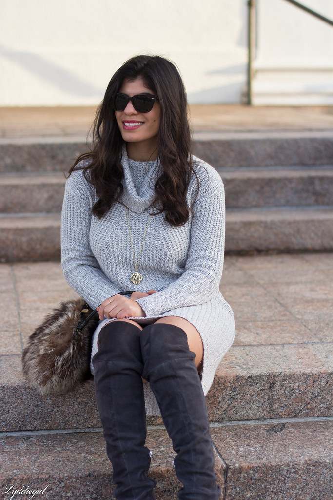 grey sweater dress, over the knee boots, fur bag-8.jpg