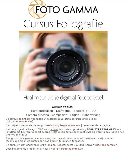 Cursus Foto GAMMA Leuven 2016