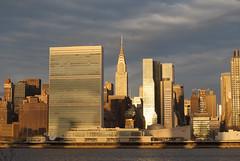 Chrysler Building and United Nation Headquarter in Manhattan Skyline