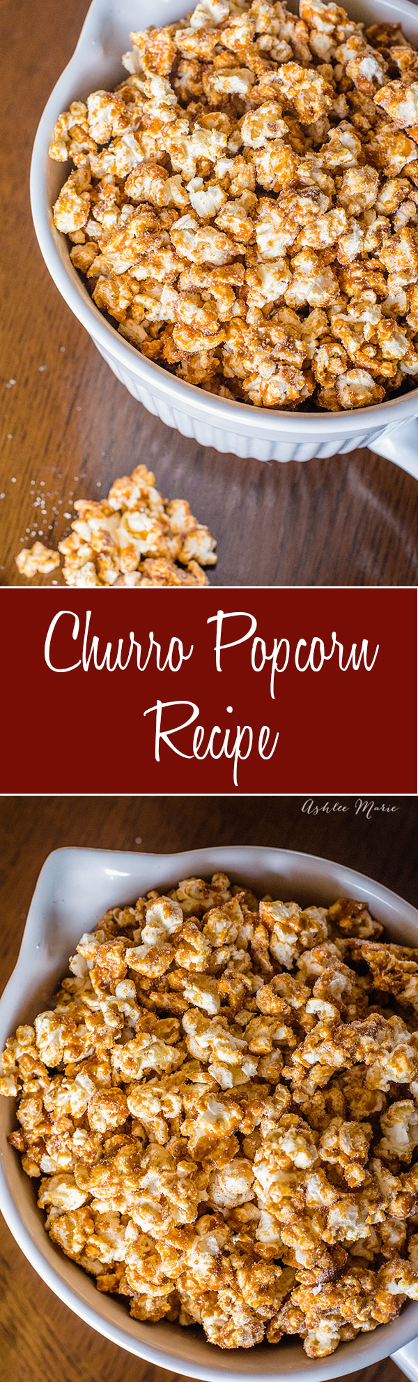 churro popcorn is easy to make and delicious with a crunchy cinnamon candy shell and cinnamon sugar sprinkled on top