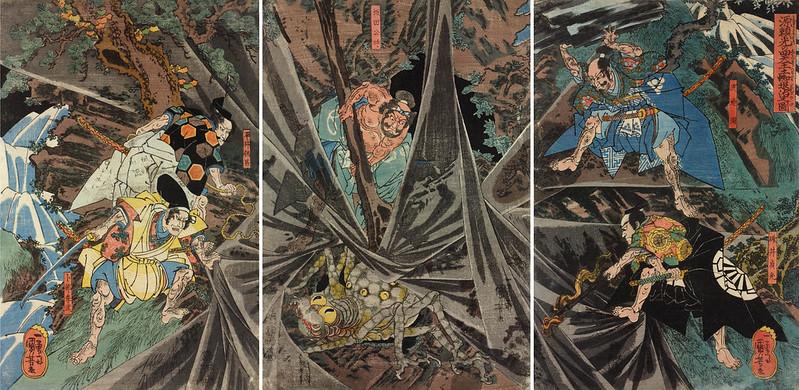 Utagawa Kuniyoshi - Minamoto no Yorimitsu no shitenno tsuchigumo taiji no zu, (The Earth Spider slain by Minamoto no Yorimitsu's retainers) 18th C