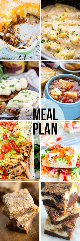 Week 35. Collaborative weekly meal planning. 9 bloggers. 6 dinner ideas, one-weekend breakfast plus 2 desserts every single week equals one heck of a delicious menu!