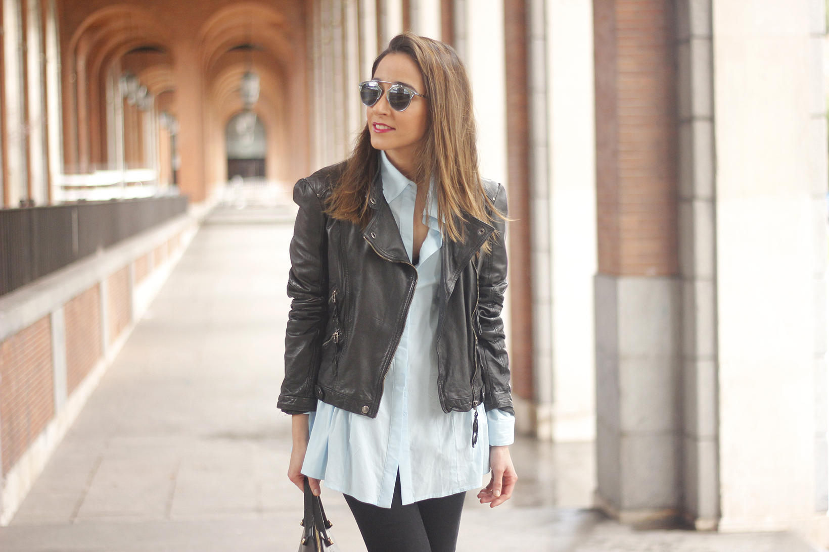 black leather biker black ripped jeans blue shirt outfit streetstyle03
