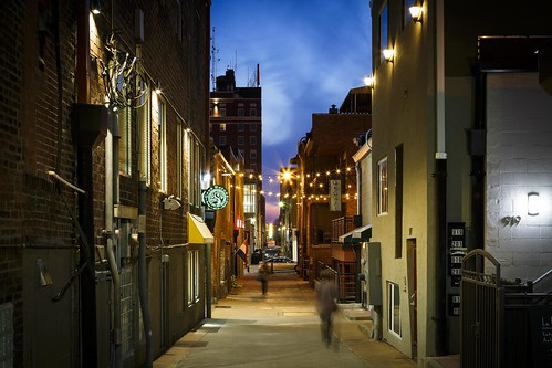 Notley Hawkins Photography, Downtown Columbia Missouri, Alley A, Alley A Real Estate, architecture, Blue Hour, Dusk