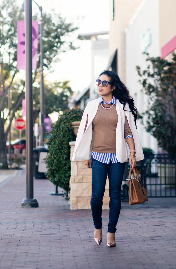 cute & little blog | petite fashion | white cape blazer, striped shirt, j. crew tippi camel sweater, paige verdugo skinny jeans, gold pumps | spring outfit