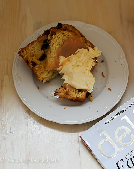 Georgina Ingham | Culinary Travels - Photograph Saffron Hot Cross Bun Loaf Slices with Clotted Cream, Blood Orange Curd and Delicious Magazine
