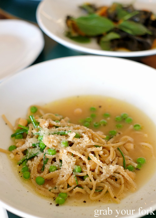 Buckwheat chitarra, ceci, piselli and parmesan broth at 10 William Street, Paddington