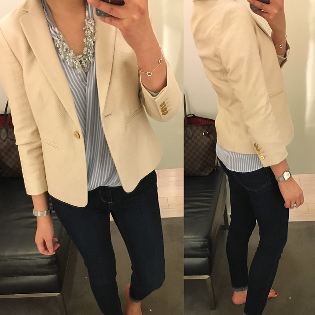 Ann Taylor Textured Club Jacket in pearl sand, size 0P