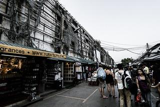 Image of Chatuchak Market near Charoen Pokphand Foods (CPF) Plc. Co. Ltd.. street thailand stand ruins market bangkok